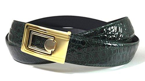 Faux Crocodile Belt (EDNA Bonded Leather Baby Crocodile Skin Print Dress Belt Hunter)