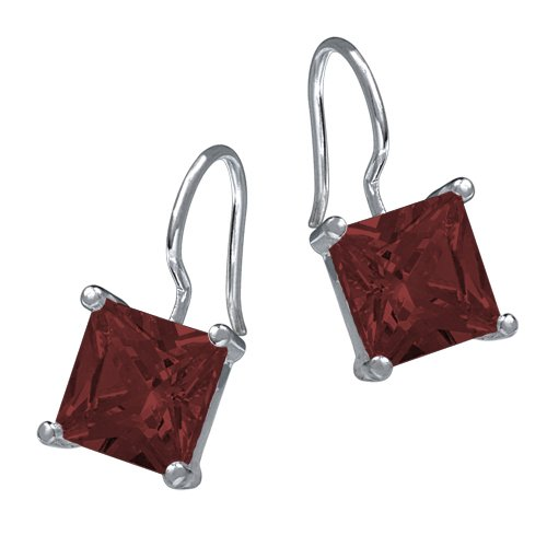 VINANI brand Germany 925 Sterling Silver dangle French hook Earrings Square dark red Zirconia OH3R