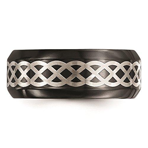 Titanium Black Ti w/Sterling Silver Inlay Celtic Design 9mm Wedding Band Size 10.5 by Edward Mirell by Venture Edward Mirell Titanium Bands (Image #4)