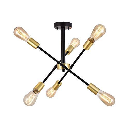 Berliget 6 Lights Industrial Living Room Mid Century Pendant Lighting Black & Gold Sputnik Chandeliers, Brushed Brass Ceiling Light for Bedroom, Dining Room, Bar, Restaurant