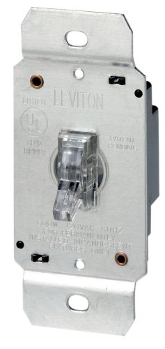 leviton 6693 3 way illuminated toggle dimmer 600 watt 120v clear