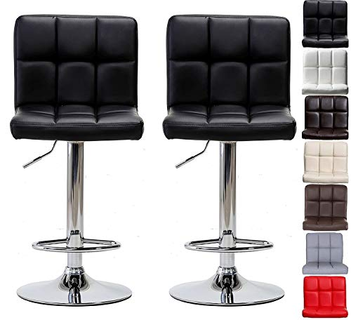 Pair Of Cuban Bar Stools Set With Backrest, Leatherette