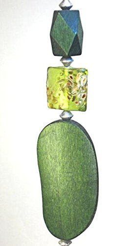 Green Kidney Shape Wood and Glass Ceiling Fan Pull/Light Pull Chain