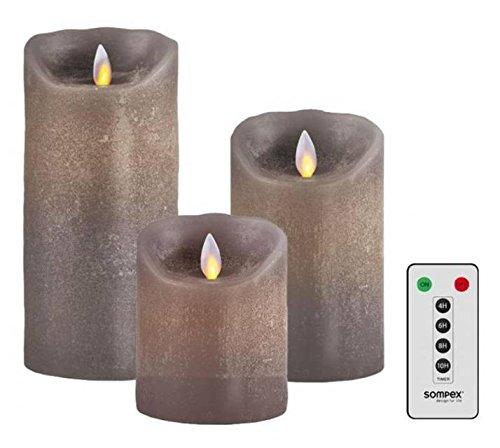 Sompex 3er Set Flame LED Echtwachskerzen Taupe 10/12,5/18cm mit Fernbedienung