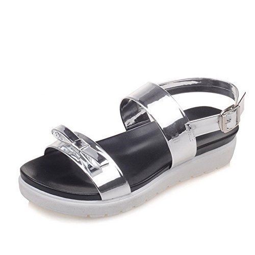 AmoonyFashion Womens Soft Material Open-Toe Low-heels Buckle Solid Sandals Silver 14376n