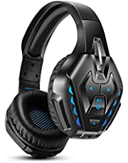 PHOINIKAS Gaming Headset for PS4, PS5, PC, Xbox one Headset with 7.1 Sound, Bluetooth Wireless Headset for Phone, Over Ear Headphones with Noise Cancelling Detachable Mic, LED Light, Bluetooth Up to 40h