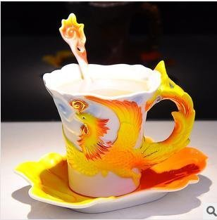 CSKB Mascot Phoenix Pattern China Porcelain Creative Tea Cup and Coffee Cup Antique Fine Porcelain Mug For Wedding/christmas Teacup, Saucer, And Spoon Three Sets