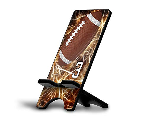 Cell Phone Stand Football #F034 Personalized Player Jersey Number On A Universal Docking Charging Station Stand Customized by TYD Designs Number 3 -