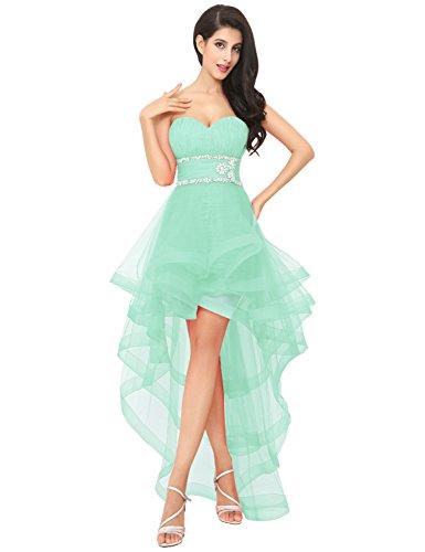 Asymmetrisch Abendkleid Ballkleid Damen CAJ014 Herzausschnitt Clearbridal Partykleid Tüll Minze xtEwqdX4