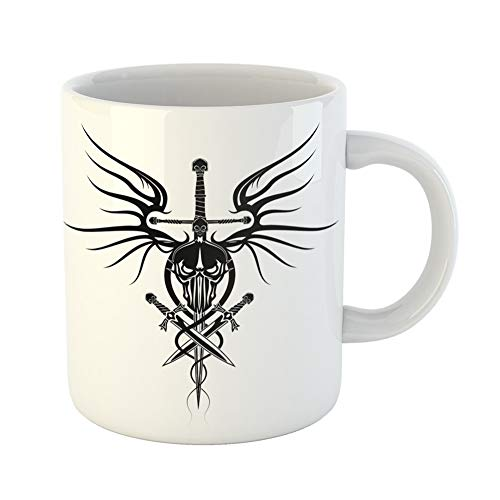 Emvency Coffee Tea Mug Gift 11 Ounces Funny Ceramic the Head of Demon Sword Daggers and Wings Dragon Black Tribal Tattoo Gifts For Family Friends Coworkers Boss Mug