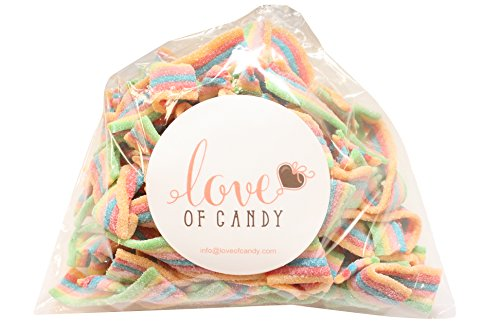 Love of Candy Bulk Candy - Rainbow Sour Belts - 1lb Bag