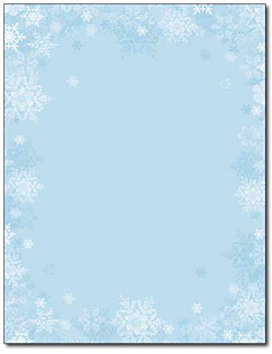 - Blue Snowflake Border Holiday Stationery - 80 Sheets