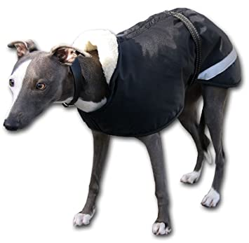 Whippet Raincoat. Black with thick fleece lining and reflective ...