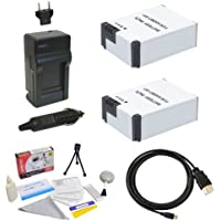 Accessory Kit with (2x) Extended Batteries, AC/DC Battery Charger, HDMI to Micro HDMI Cable and Cleaning Kit for GoPro HD Hero3 3+