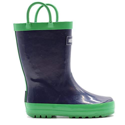 (Mucky Wear Children's Rubber Rain Boot, Navy/Green, 12T US Toddler)