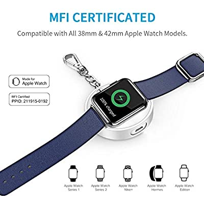 [Apple MFI Certified] CHOETECH Apple Watch Portable Charger, 900mAh Power Bank with Keychain for 38mm/42mm Apple Watch