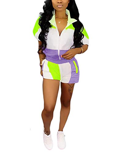 Women Color Block 2 Piece Tracksuit Long Sleeve Hoodie and Shorts Set Outfits Purple S