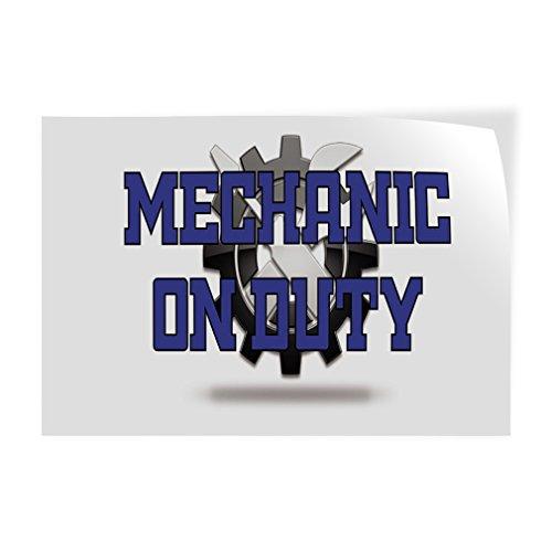 Mechanic On Duty #2 Indoor Store Sign Vinyl Decal Sticker - 14.5inx36in, by Sign Destination