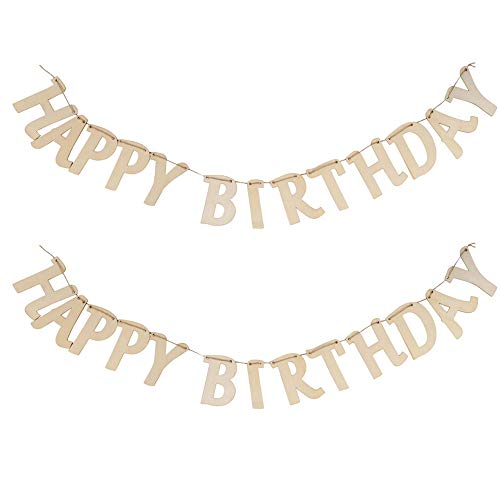 Happy Birthday Banner - 2-Set Wooden Birthday Bunting Garland, DIY Hanging Wood Letters Banner Birthday Party Decoration, Party Supplies Decor Props, 41 x 4.5 x 0.09 Inches Assembled]()