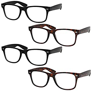 4 Pairs Deluxe Wayfarer Style Reading Glasses - Standard Fit Spring Hinge Readers Black and Tortoise/+1.50