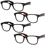 4 Pairs Deluxe Reading Glasses - Standard Fit Spring Hinge Readers