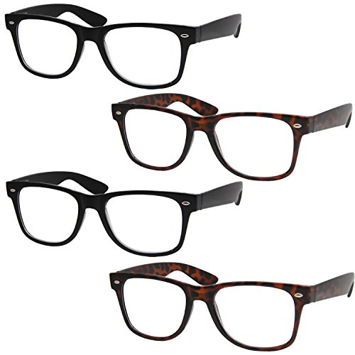 4 Pairs Deluxe Wayfarer Style Reading Glasses - Standard Fit Spring Hinge Readers Black and Tortoise/+1.75