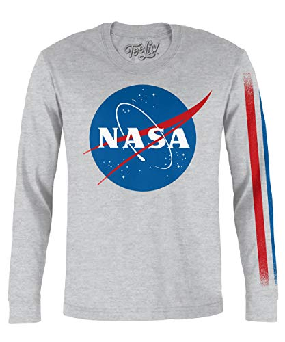 - 41YFZlwTJVL - Tee Luv NASA Long Sleeve Shirt – Retro NASA Meatball Logo T-Shirt