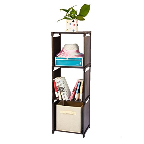 Wishwill 3-Cube Storage Organizer Cabinet with 3-Tier Shelf Closet for Toy/Book/Shoe/Clothes Black