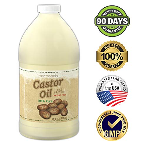 Castor Oil 64 oz Cold Pressed | 100% Pure Hexane Free | for Hair Growth, Skin & Eyelashes | Vegetarian, Non-GMO | By Horbaach