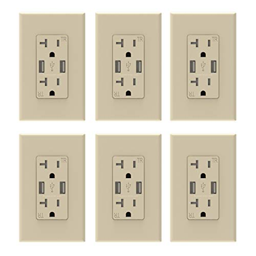 10 best outlet with usb charger light almond