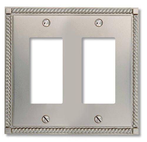 Double Switch Satin Nickel (Amerelle 54RRN Georgian Cast Metal Double Rocker/GFCI Wallplate, Satin Nickel)