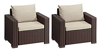 ALLIBERT Fauteuil California Salon, Lot de 2, Marron/Panama Taupe ...