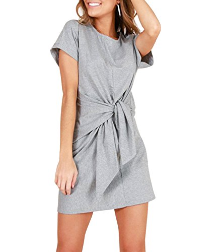(Mansy Women's Casual Short Sleeve Front Knot Mini T-Shirt Dress Gray)