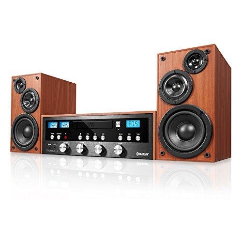 Innovative Technology 50 Watt Classic CD Bluetooth Stereo System, Mahogany Wood
