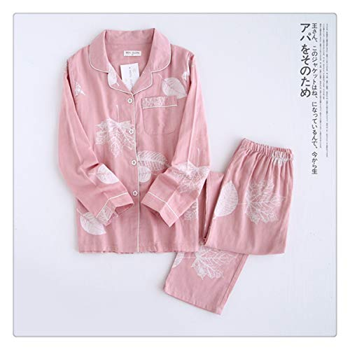 Korea Fresh Maple Leaf Pajama Sets Women 100% Gauze Cotton Long Sleeve Casual Sleepwear Women Pyjamas Summer TZ Leaves Pink L
