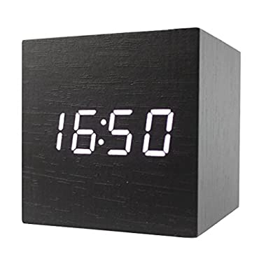 Dianoo Cube LED Alarm Clock Time Temperature Date Sound Control, Black Wood and White Light