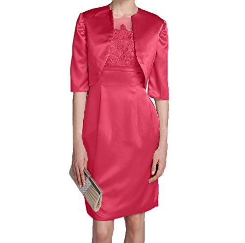 Jaket Etuikleider Promkleider Brautmutterkleider Satin Wassermelon Charmant Abendkleider Damen Langarm Elegant Partykleider mit xYfqOSv0Ww