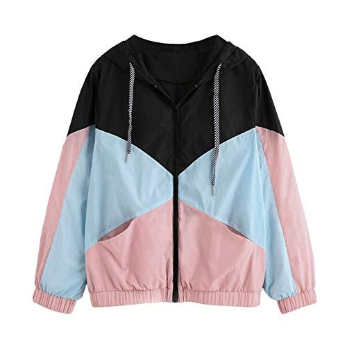 STORTO Women Winter Warm Hooded Coat Patchwork Pocket Windbreaker Jackets Outwear