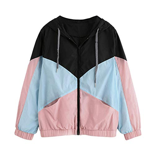 iYBUIA 2018 New Summer Women Long Sleeve Patchwork Thin Skinsuits Hooded Zipper Pockets Sport Coat(Pink ,XL)
