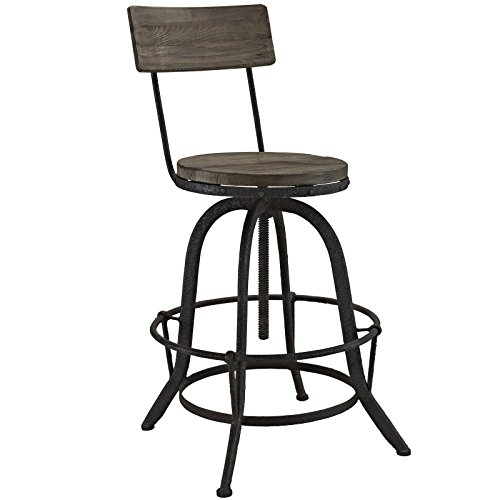 Modway Procure Modern Farmhouse Pine Wood and Iron Metal Adjustable Height Swivel Bar Stool in Brown (Swivel Lexington Bar Stools)
