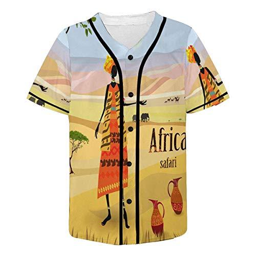 (INTERESTPRINT Men's African Art Tribal Print Baseball Jersey T-Shirts Plain Button Down Sports Tee XL)