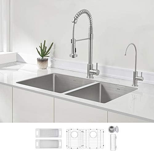 ZUHNE 32-Inch Double Bowl Undermount Deep Kitchen Sink 16 Gauge Stainless Steel 60 40