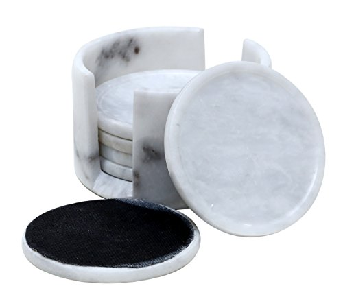 Coaster Set for Drink Cup Pad, Handmade Marble Mug Round Coasters Set – Warming Stone Women Spoon Rest, Extreme Caddy Absorbent with Holder