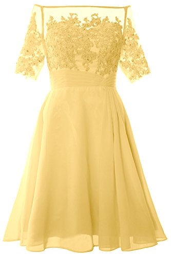 of Short Off Canary Mother Cocktail Dress Shoulder MACloth Gown Party Women Bride qwTXRRnH
