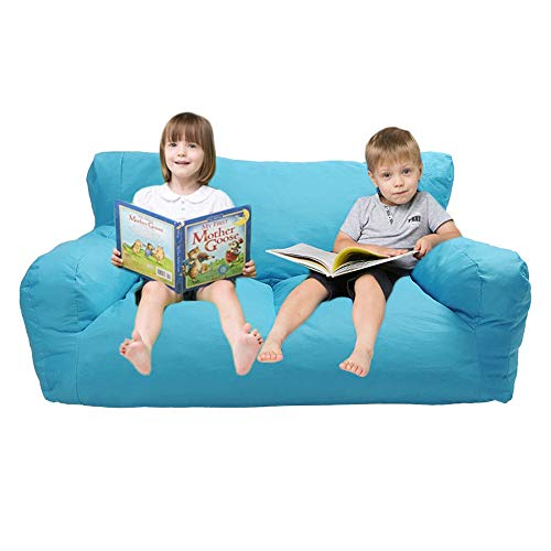 Dporticus Double Mini Lounger Sofa, Bean Bag Chair Self-Rebound Sponge Double Child Seat 51 x 32 x 18 Blue