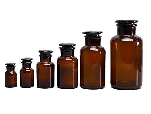 Botella de cristal de laboratorio marrón, boquilla ancha, boca esmerilada, con tapón, botella de cristal transparente de laboratorio, 125ml: Amazon.es: ...