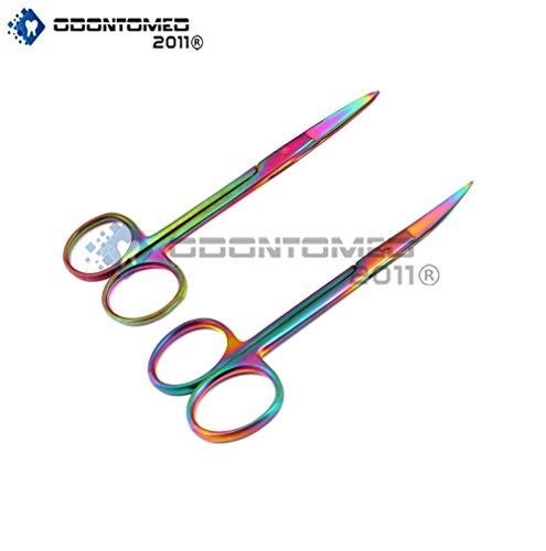 OdontoMed2011® Set Of 2 Multi Titanium Color Rainbow Iris Scissors 4.5