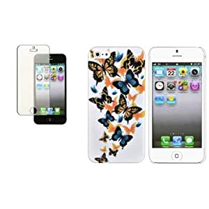 Cerhinu CommonByte Orange/Blue Butterfly White Rubber Hard Case+Diamond Guard For iPhone 5 5th 5G