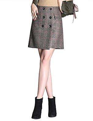 IDEALSANXUN Women's Wool Plaid A-line Short Mini Pencil Skirt