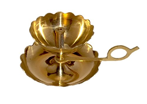 PARIJAT HANDICRAFT Handmade Indian Puja Brass Oil Lamp - Aarti & Diya in One with Supported Flame